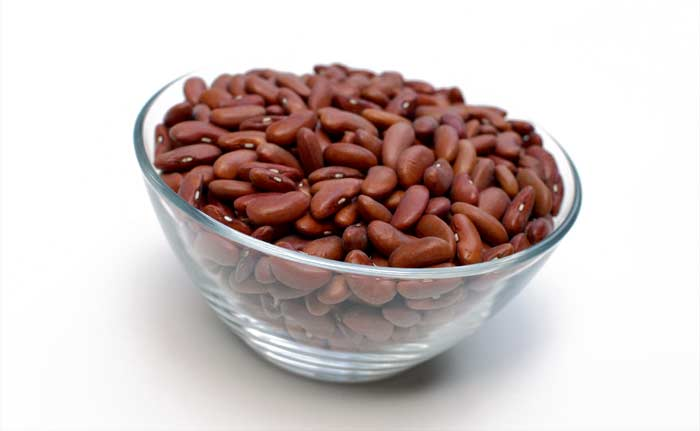 Dry Red Kidney Beans in clear glass bowl